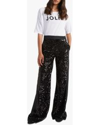 French Connection - Alodia Sequin Wide Leg Trousers - Lyst