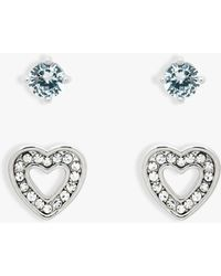 Melissa Odabash - Glass Crystal Heart Stud Earrings - Lyst
