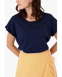 Brora Cotton Knit Slouchy T-shirt - Blue