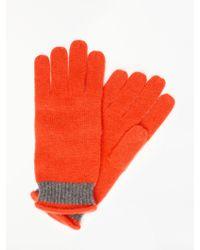 Boden Stripe Trim Cashmere Gloves - Orange