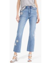 J.Crew Point Sur Kickout Crop Jean In Ocean Sky Wash With Floral Embroidery - Blue