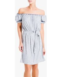 Max Studio Off Shoulder Stripe Jersey Dress - Blue
