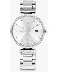 Tommy Hilfiger Crystal Bracelet Strap Watch - Metallic