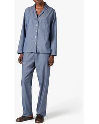Jigsaw Melange Cotton Pyjamas - Blue