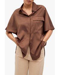 Mango Oversized Satin Shirt - Brown