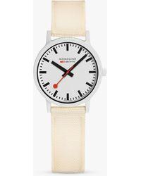 Mondaine Essence Ms132111 Textile Strap Watch - White