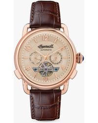 Ingersoll 1892 I00901b The New England Automatic Chronograph Date Heartbeat Leather Strap Watch - Multicolour