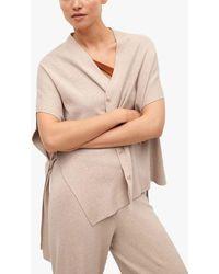 Mango Oversized Fine Knit Flowy Cardigan - Natural