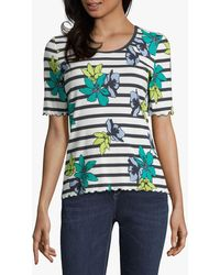 Betty Barclay Fine Ribbed Floral Top - Blue