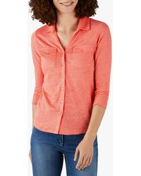 Pure Collection Linen Jersey Top - Pink