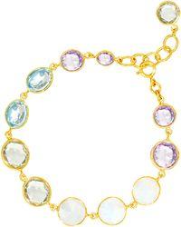 Auren - 18ct Gold Vermeil Moonstone Topaz And Amethyst Bracelet - Lyst