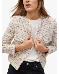 Mango Button Front Tweed Jacket - Multicolour