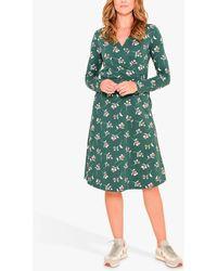 Brakeburn Cherry Print Wrap Dress - Green