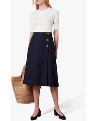 Jaeger Button Detail Linen Skirt - Blue