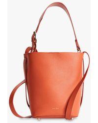 Reiss Hudson Mini Leather Bucket Bag - Orange