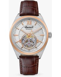 Ingersoll 1892 I10901b The Shelby Automatic Heartbeat Leather Strap Watch - Metallic