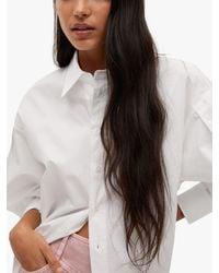 Mango Oversized Poplin Shirt - White