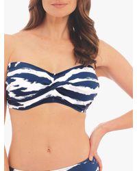 Fantasie Lindos Underwired Twist Bandeau Bikini Top - Blue