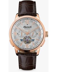 Ingersoll 1892 The Regent Automatic Tachymeter Heartbeat Leather Strap Watch - Multicolour