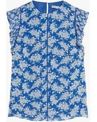 Oasis Cap Sleeve Ditsy Floral Pleat Top - Blue