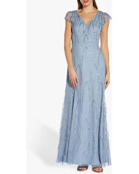 Adrianna Papell - Beaded Mermaid Maxi Gown - Lyst