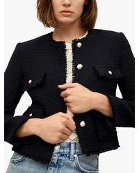 Mango Button Front Tweed Jacket - Black