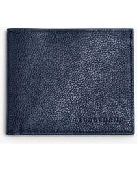 Longchamp Le Foulonné Slim Leather Wallet - Blue