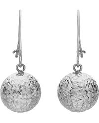 Ib&b | 9ct White Gold Ball Diamond-cut Drop Earrings | Lyst