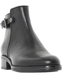 Dune Black - Pema Leather Stacked Heel Ankle Boots - Lyst