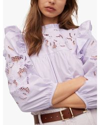 Mango Adelaida Embroidered Frill Shoulder Blouse - Purple