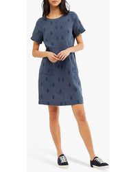 White Stuff Bea Embroidered Linen Dress - Blue