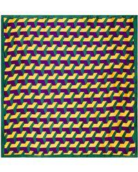 Brora - Block Print Silk Square Scarf - Lyst