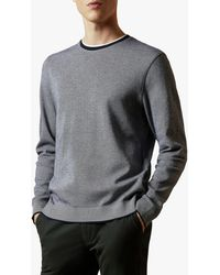 Ted Baker Carriag Cotton Crew Jumper - Blue