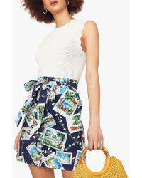 21746a4046f4 Oasis - Belted Tropical Print Skirt - Lyst
