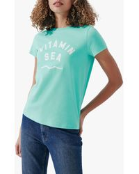 Crew Vitamin Sea Slogan Cotton T-shirt - Green