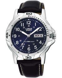 Lorus Rxn51bx9 Men's Sports Day Date Leather Strap Watch - Blue