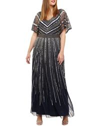 Studio 8 Sizes 12-26 Navy Avalon Beaded Maxi Dress - Blue