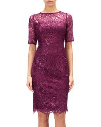 Adrianna Papell - Lace Sequin Illusion Neckline Dress - Lyst