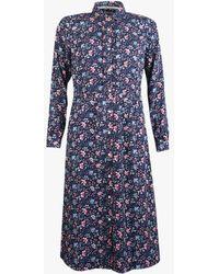 Barbour Elm Floral Print Shirt Dress - Blue