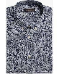 Jaeger Palm Print Short Sleeve Shirt - Blue