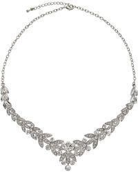 John Lewis - Diamante Leaf Statement Necklace - Lyst