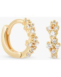 Astrid & Miyu Mystic Cubic Zirconia Huggie Hoop Earrings - Metallic