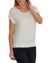 Betty & Co. Cap Sleeve Textured Top - White