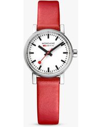 Mondaine Unisex Evo 2 Leather Strap Watch - Multicolour