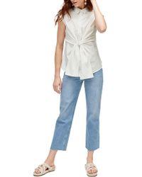 Warehouse - Tie Front Cotton Shirt - Lyst