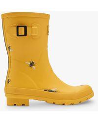 Joules Molly Bee Print Waterproof Short Wellington Boots - Yellow