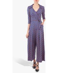 Jolie Moi Geometric Print Cross Over Jumpsuit - Blue