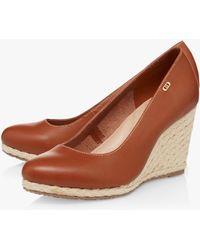 Dune Anabella Wedge Heel Espadrille Shoes - Brown