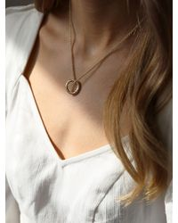 Tutti & Co Rope Small Textured Ring Pendant Necklace - Metallic