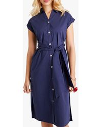 Yumi' Utility Shirt Dress With Pockets - Blue